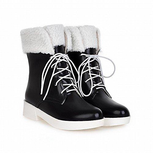 Latasa Mujer's Cute Lace-up Platform Mid Chunky Heel Botas Altas De Invierno En La Nieve Negro