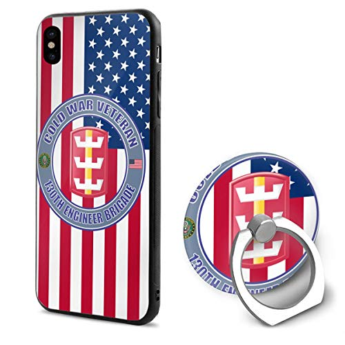 US Army 130th Engineer Brigade Gold War Veteran iPhone 10 Mobile Phone Shell Ring Bracket 5.8 Inth ()