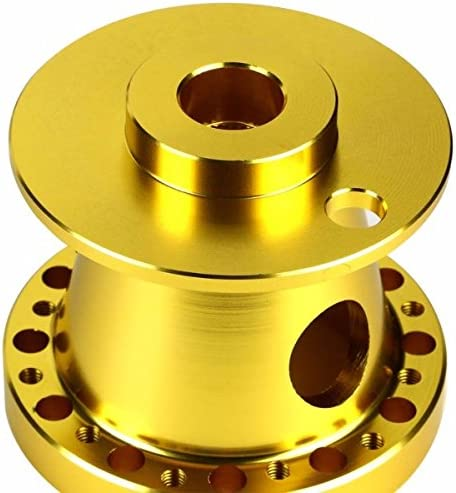 350MM 3 Gold Tri-Spoke//Gold Stripe Steering Wheel+Gold 6-Hole Hub Adapter+Gold Quick Release For 240SX//Sentra
