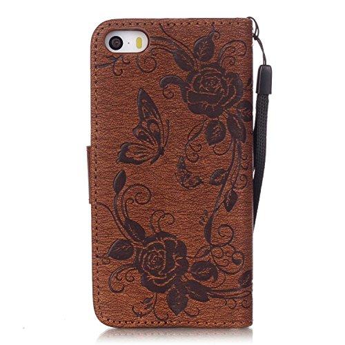 Voguecase® Pour Apple iPhone 5 5G 5S Coque, Etui Housse Cuir Portefeuille Case Cover (Papillon IV-Marron)de Gratuit stylet l'écran aléatoire universelle