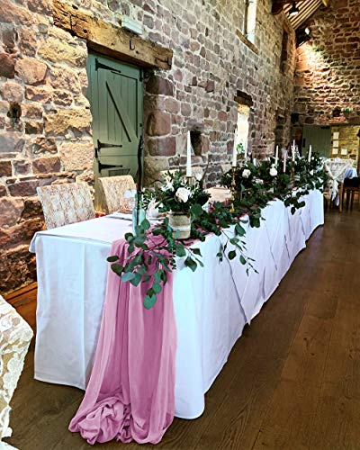 SoarDream Mauve Valentines Day Table Runner - Elegant Chiffon Wedding Table Runner for Bachelorette Holiday Celebration Party Decorations - 5 Pieces of Mauve Sheer Table Runner