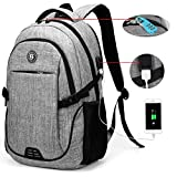 SOLDIERKNIFE Durable Waterproof Anti Theft Laptop Backpack Travel Backpack Bookbag with usb Charging Port for Women & Men Fits 15.6 Inch Laptop and Notebook Including Lock Grey