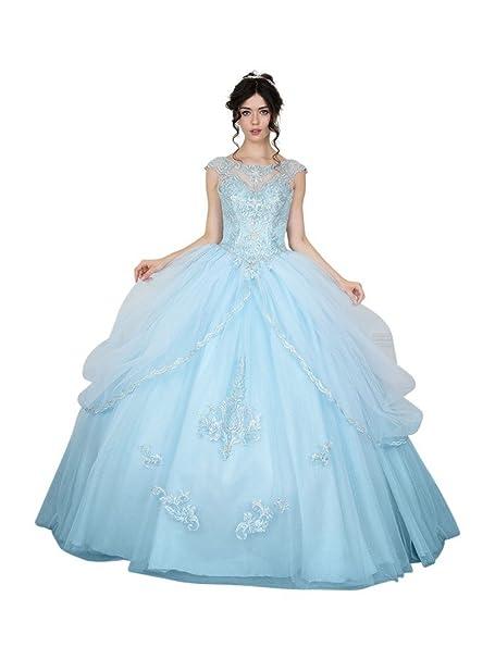 c27b9c7ec5f Calla Collection Womens Bahama Blue Open Back Quinceanera Ball Dress ...