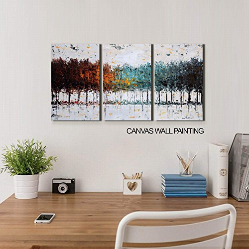 ARTLAND Modern Abstract Oil Painting on Canvas Color Dream 3-Piece Gallery-Wrapped Framed Wall Art Ready to Hang for Living Room 16x36-inch by ARTLAND