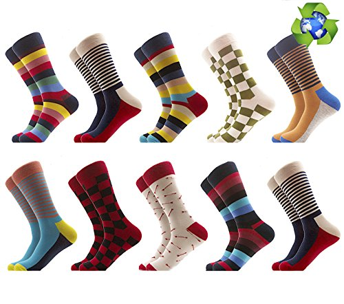 coloured socks for men funny colorful  high fun sock casual long thick cotton bed socks dress cool bright comfort (A:10 Vintage) (Gifts For Young Man)