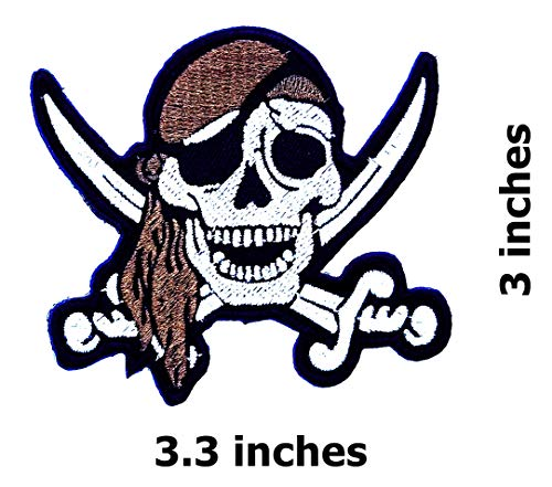 Brown Bandana Pirates Skull Swords Crossed Caribbean Skull Ghost Lady Rider Biker Hippie Patch Bike Iron On/Sew On Patch
