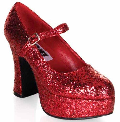 50 (9, Red Glitter) Mary Jane Platform Shoe 4 Inch Heel ()