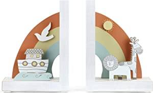 DEMDACO Noah's Ark Animals Rainbow and White 8 x 6 Wood and Metal Decorative Bookends