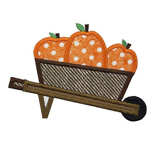 Pumpkin Cart Patch - Iron on - Applique Wagon