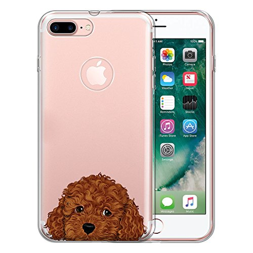 FINCIBO Case Compatible with Apple iPhone 7 Plus/iPhone 8 Plus, Clear Transparent TPU Protector Case Cover Soft Gel for iPhone 7 Plus / 8 Plus (NOT FIT iPhone 7/8) - Brown Toy Poodle Puppy ()