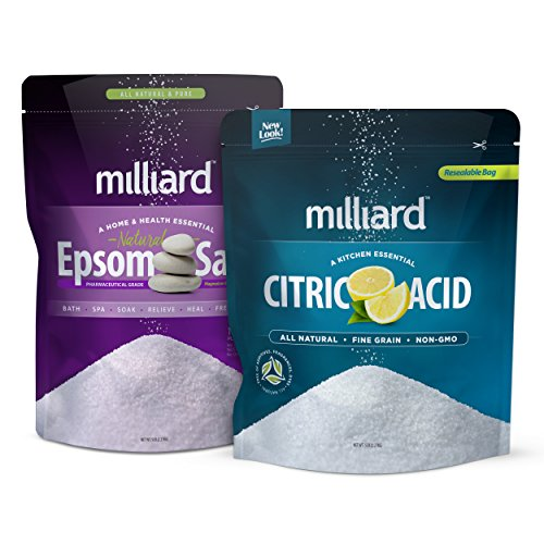 Milliard Epsom Salt 5lbs. Magnesium Sulfate USP Grade BULK bag + Milliard 100% Pure Food Grade Citric Acid - 5 lb. bag