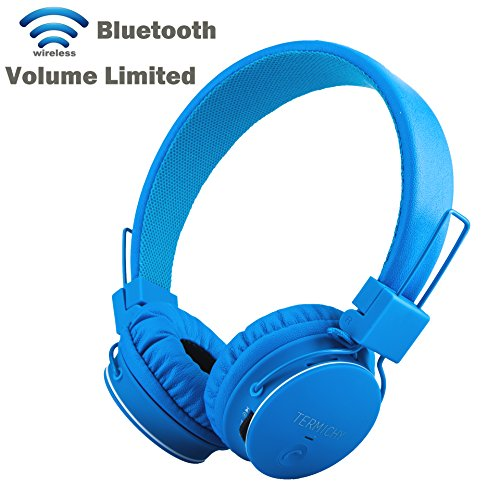 Drahtlos Bluetooth Kopfhörer für Kinder,Faltbare Tragbare Headset,Termichy On Ear Stereo Kopfhörer mit Shareport Musik-Anteil,Eingebautes Mikrofon für die Freisprechfunktion, blau