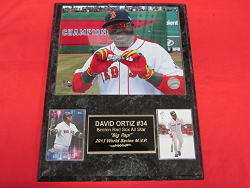 Red Sox World Series Ring (Red Sox David Ortiz 2 Card Collector Plaque w/ 8x10 Color Photo WORLD SERIES RINGS)