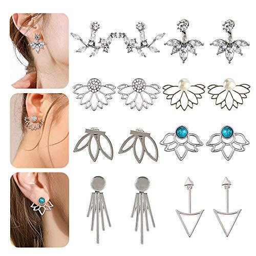 8 Pairs Rose Gold Silver Hollow Lotus Flower Earrings Simple Chic Crystal Pearl Turquoise Stud Earrings -