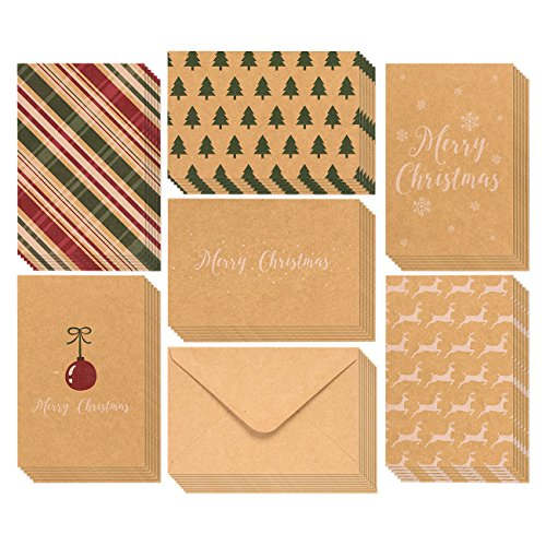 36-Pack Merry Christmas Greeting Cards Bulk Box Set - Winter Holiday Xmas Greeting Cards with Yuletide Elements, Envelopes Included, 4 x 6 Inches]()