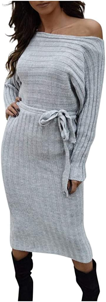 Autumn and Winter Womens One-Shoulder Sweater Knit Women Dress ZOMUSAR Ladies Dress