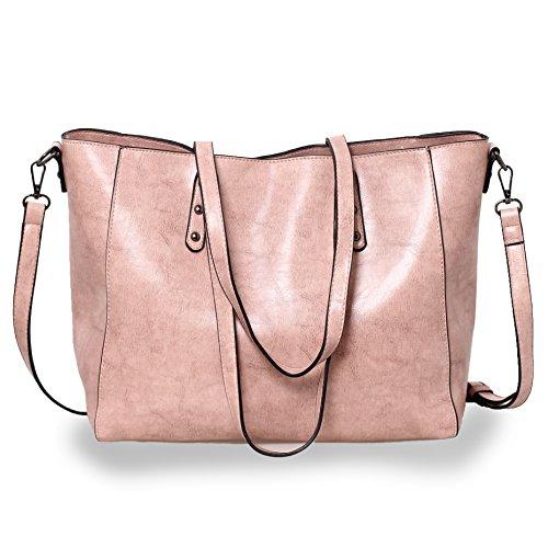 Women Handbags Tote Top Handle Bags Shoulder Bags Large Capacity Shopping Bags Satchel Crossbody Purse (Pink)