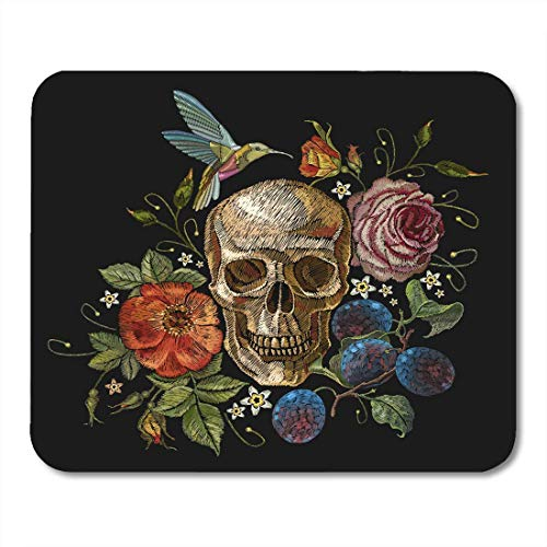 - Mouse Pads Line Skull and Roses Grapes Humming Bird Flowers Dia De Muertos Gothic Human Red Clothestemplates Mouse Pad Mats 9.8