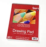 Darice 9-Inch-by-12-Inch Top Spiral Drawing Paper, 50-Sheets