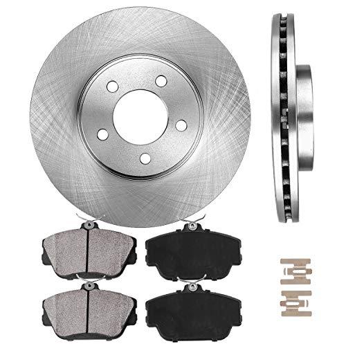 OE 5 Lug [2] Brake Disc Rotors + [4] Ceramic Brake Pads + Clips ()
