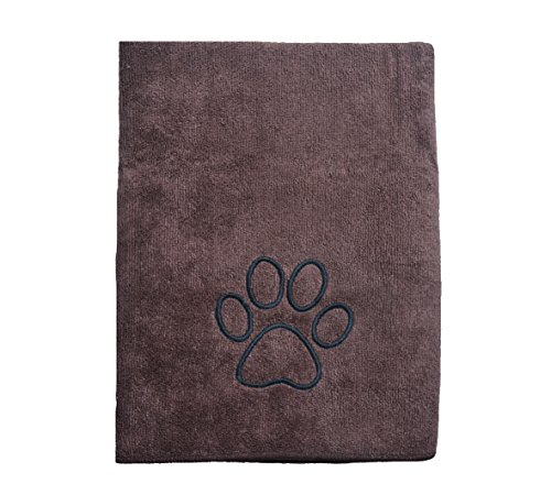 SINLAND Microfiber Pets Bath Towels Fast Drying Absorbent Towelettes for Dogs Cats Large Shower Embroidered Grooming Cleaning Blanket Cloths Paw Print 30Inch x 50Inch Brown