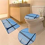 3 Piece Anti-slip mat set San Francisco Bay Bridge From Pier In California Usa Landmark Extralong Non Slip Bathroom Rugs