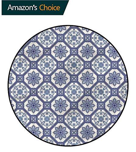 RUGSMAT Arabian Round Kids Rugs,Arabesque Floral Octagonal Non-Slip Soft Floor Mat Home Decor Round-71 ()