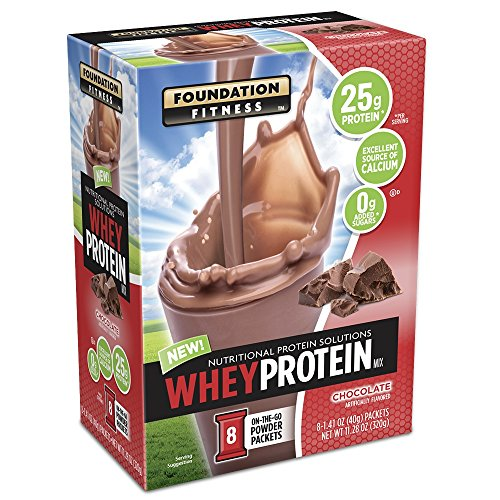 Foundation Fitness Whey Protein Mix, Single Serve Packets, Chocolate, 8 Count