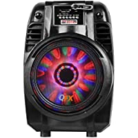 QFX WORLDWIDE VOLTAGE BLUETOOTH Portable Party Tailgater Speaker with LED Moonlight and USB/MIC Inputs, BONUS FREE Remote Control Included