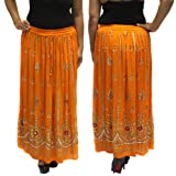 BombayFashions Women's Long Sequin Bohemian Gypsy India Beach Peasant Skirt