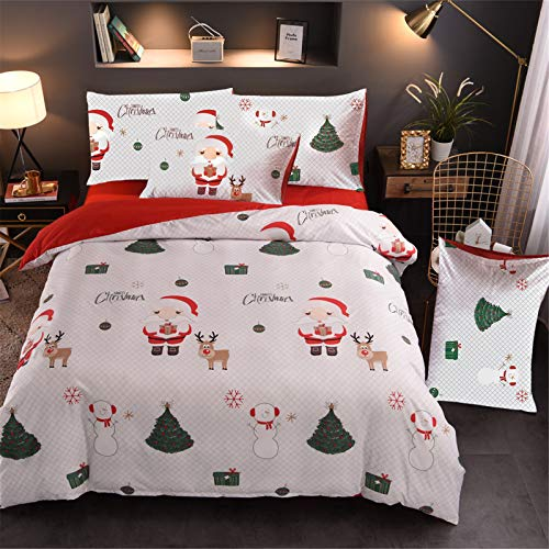 A Nice Night Christmas Tree Deer Santa Claus Printed Bedding Sets Quilt Cover Set No Comforter (Christmas-Style 02, Queen)