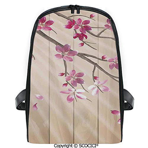SCOCICI 3D Digital Printed Backpack Spring Cherry Twig Falling Petals Sun Beams on Wooden Wall Background Illustration Cute Outdoor Daypack