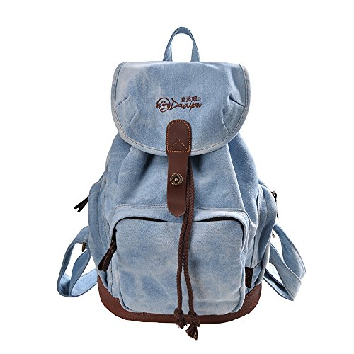DGY Women's Korean Fashion Canvas Backpack For College G00117 Denim Blue