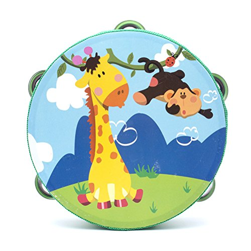Peg Hammer 18cm Baby Hand Drum Wooden Flower Tambourine Percussion Instrument (Giraffe Monkey)