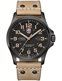 Atacama Field Day Black Carbon Fiber Dial Brown Leather Mens Watch 1925
