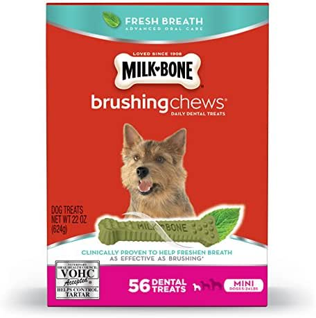 Milk-Bone Brushing Chews Fresh Breath Daily Dental Treats - Mini, 22-Ounce - 56 Bones
