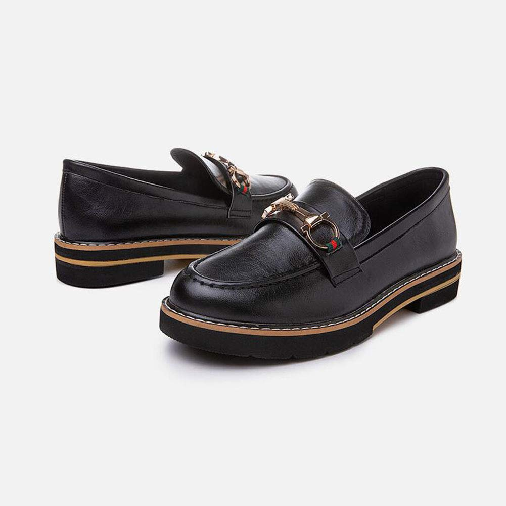 FH Single Schuhe Frauen Low Heel Square mit mit mit Retro College Wind Loafers (Farbe   Schwarz Größe   EU36 UK4 CN36) 78bcff