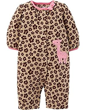 Baby Girls Giraffe Fleece Jumpsuit Bodysuit Dress Up Outfit