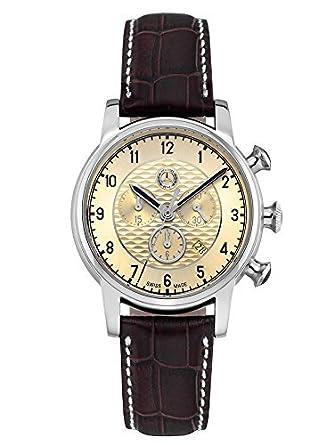Armbanduhr Herren - High Classic braun - beige - Edelstahl - Leder