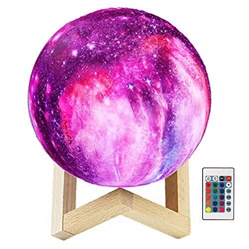 Price comparison product image Semoon 3D Moon Lamp with Stand,  16 Colors 6'' Lunar Moon Globe Starry Sky Night Light Remote Control Rechargeable Bedroom Nursery Decor for Kids Baby