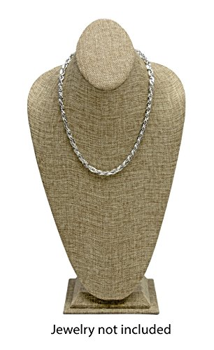 Novel Box Burlap Necklace Jewelry Display Bust Stand X-Large (15.5X8X5