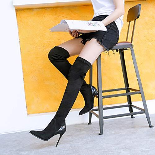 Haut Black Femme Genou Aiguille Du Sexy Aqoos Fete Stretch Dessus Bottes xpwqYFYgvB