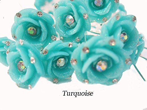 20 Pieces Rose Flower Rhinestone Hair Pins Wedding Bridal Hair Clips for Long Hair Stick for Girls (turquoise)