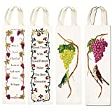 Reusable Wine Gift Bags Hostess and Housewarming - 4 Pack Including Red and Green Grapes, Good Times Memories and Wine Is Proof