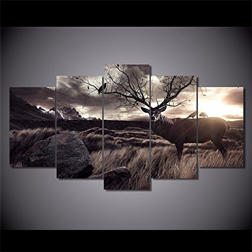 [LARGE] Premium Quality Canvas Printed Wall Art Poster 5 Pieces / 5 Pannel Wall Decor Calligraphy Animal Scenery Deer Painting, Home Decor Pictures - With Wooden Frame
