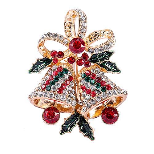 Deniferymakeup Christmas Vintage Ringing Bell Brooch Jingle Bell Pin Brooch Christmas Bell Pin Brooch Rhinestone Accents Rings Xmas Holly Leaves Bright Rhinestone Jingle Bell Pin Brooch (5X3.5CM)