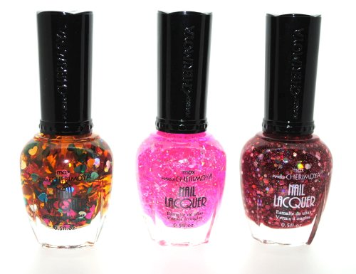 Sparkling Glitter Love 3 Piece Color Nail Lacquer Combo Set - Pink Twinkly Glitter