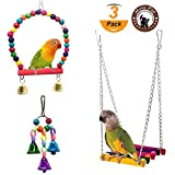 Mrlipet Small Bird Swing Toys with Colorful Wood Beads Bells and Wooden Hammock Hanging Toys for Budgie Lovebirds Conures Small Parakeet Cages Decorative Accessories (2 Pack)