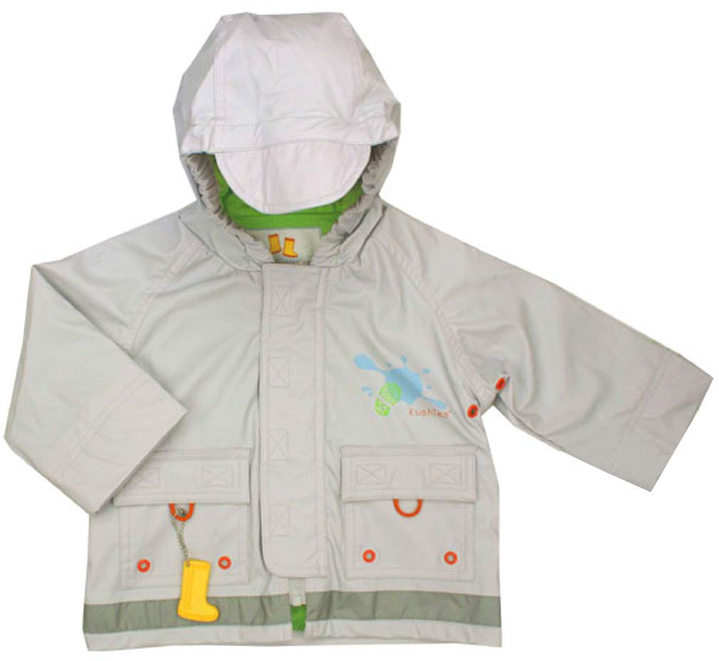 Kushies Grey Light Weight Hooded Rain Jackets for Baby, 6-12 Months by Kushies