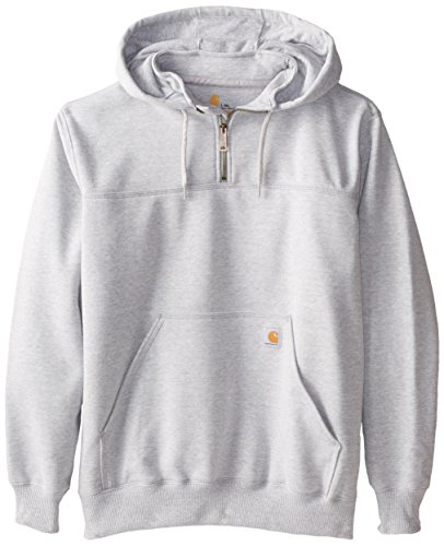 Carhartt Men's  Rain Defender Paxton Heavyweight Hooded Zip Mock Neck Sweatshirt,Heather Gray,Large Tall